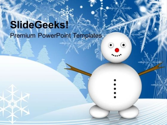 Snowman With Winter Scene Holidays Powerpoint Templates Ppt