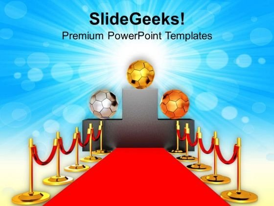 Soccer Ball On Winner Podium PowerPoint Templates Ppt Backgrounds For Slides 0713