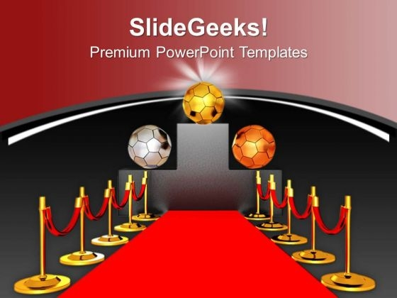 Soccer Balls On Podium And Red Carpet PowerPoint Templates Ppt Backgrounds For Slides 0713
