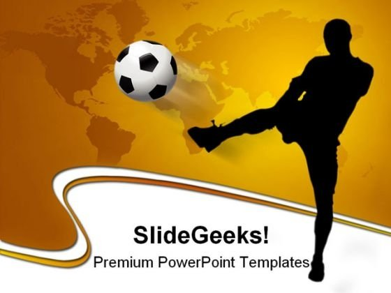 Soccer Player With World Map Game PowerPoint Themes And PowerPoint Slides 0211