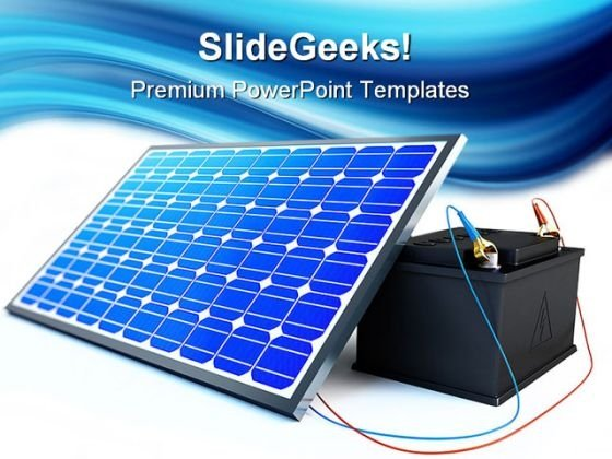 Solar Panel Charges Battery Technology PowerPoint Templates And PowerPoint Backgrounds 0211