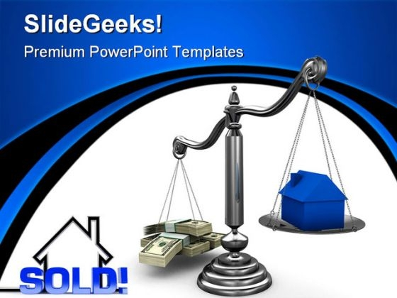 Sold Sign House With Dollars Business PowerPoint Themes And PowerPoint Slides 0511