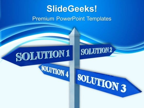 Solutions Signpost Metaphor PowerPoint Templates And PowerPoint Themes 0512