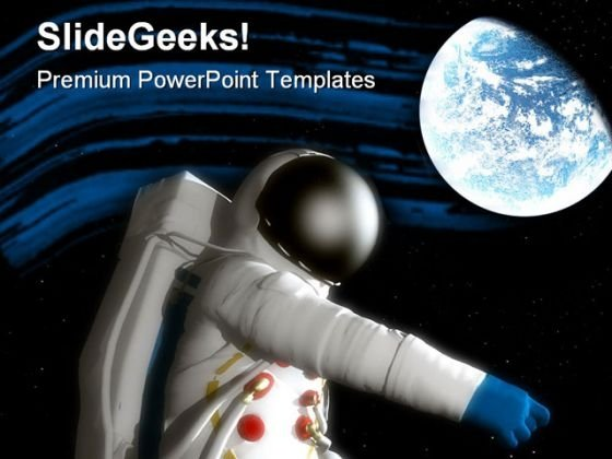Spaceman With Planet Geographical PowerPoint Themes And PowerPoint Slides 0811