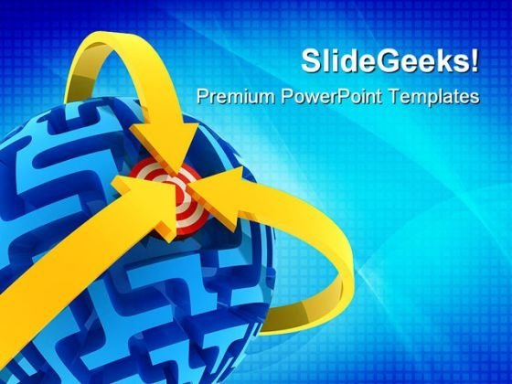 Sphere Maze Puzzle With Target Abstract PowerPoint Templates And PowerPoint Backgrounds 0411