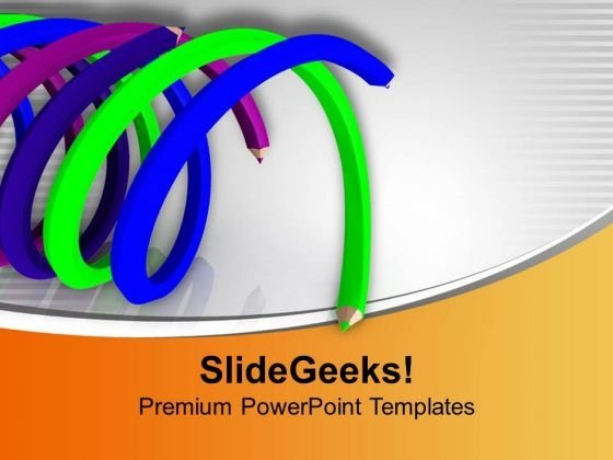Spiral Shaped Colorful Pencils Powerpoint Templates Ppt Backgrounds