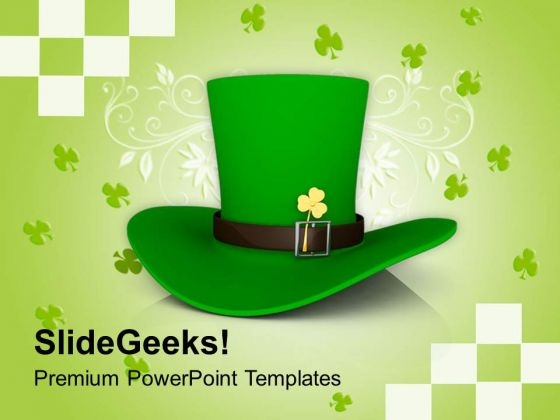 St Patricks Day Hat With Clover Holidays PowerPoint Templates Ppt Backgrounds For Slides 0313
