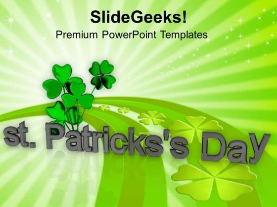 St Patricks Day With Clover Leaves Background PowerPoint Templates Ppt Backgrounds For Slides 0313