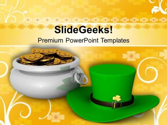 St Patricks Day With Green Hat PowerPoint Templates Ppt Backgrounds For Slides 0313