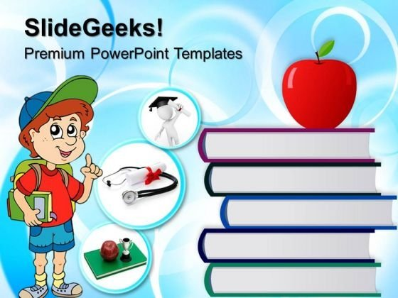 Stack Of Books And Red Apple Education PowerPoint Templates And PowerPoint Themes 0712