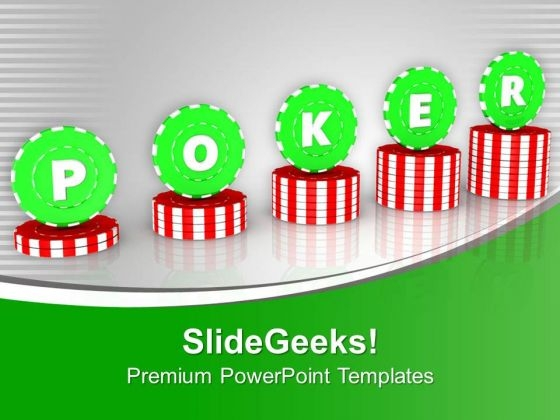 Stack Of Poker Chips For Gambling PowerPoint Templates Ppt Backgrounds For Slides 0513