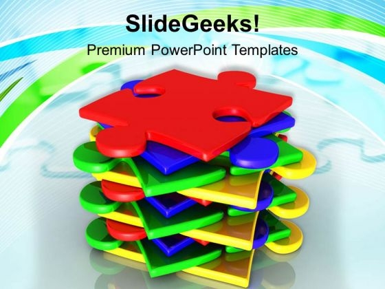 Stack Of Puzzles Pieces Business Concept PowerPoint Templates Ppt Backgrounds For Slides 0313