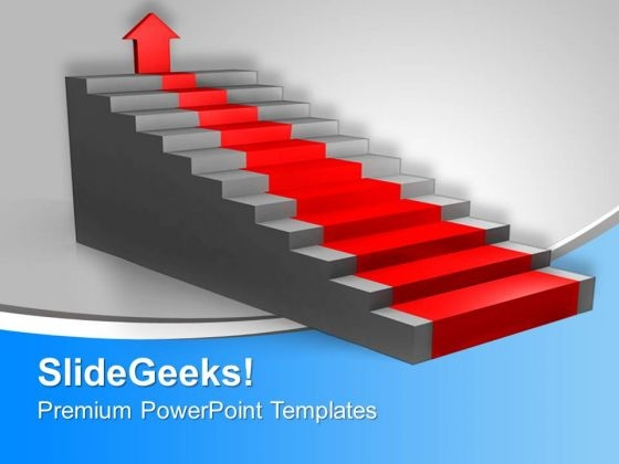 Stairs With Red Carpet Pointing Arrow PowerPoint Templates Ppt Backgrounds For Slides 0313