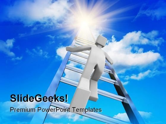 Stairway To The Sky Success PowerPoint Themes And PowerPoint Slides 0411