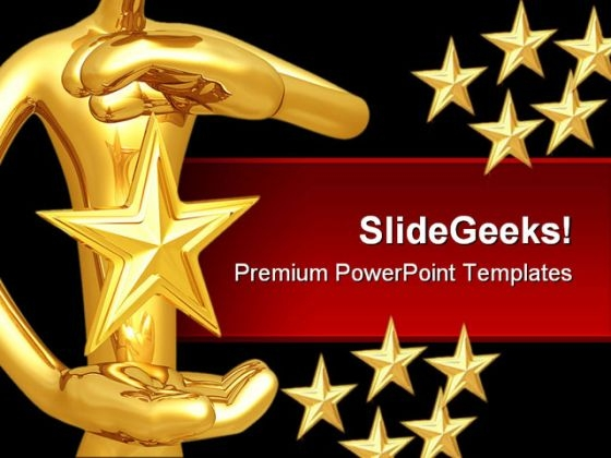 Star Hovering Between Hands Abstract PowerPoint Themes And PowerPoint Slides 0411