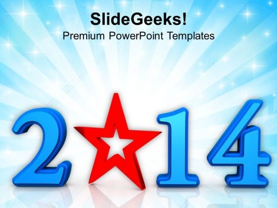 Star New Year 2014 PowerPoint Template 1113
