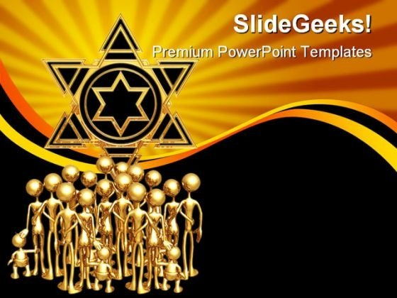 Star Of David Gathering Religion PowerPoint Backgrounds And Templates 1210