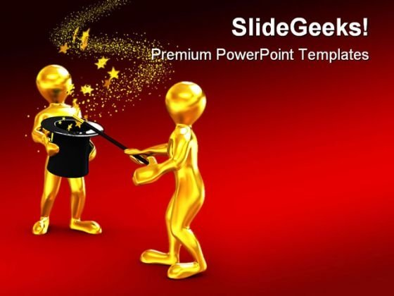 Stars From Hat Magic Entertainment PowerPoint Themes And PowerPoint Slides 0211