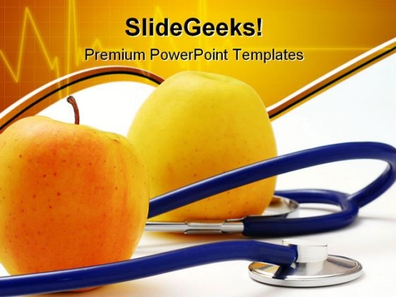 Stethoscope With Apples Medical PowerPoint Themes And PowerPoint Slides 0311