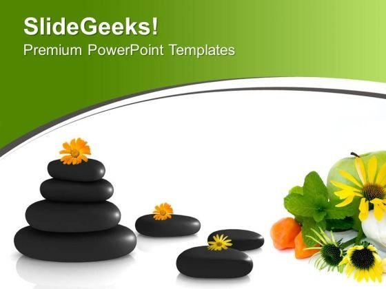 Stones And Flowers Health Spa Theme PowerPoint Templates Ppt Backgrounds For Slides 0613