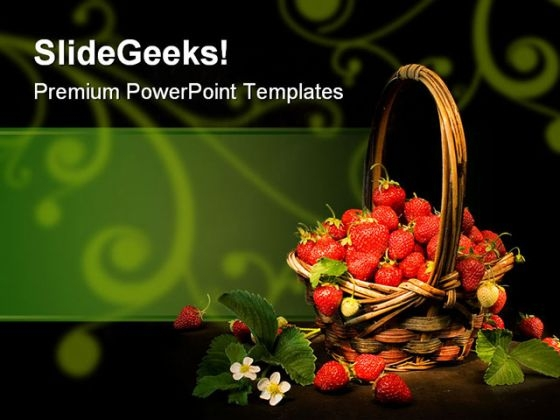 Strawberry Basket Food PowerPoint Themes And PowerPoint Slides 0211