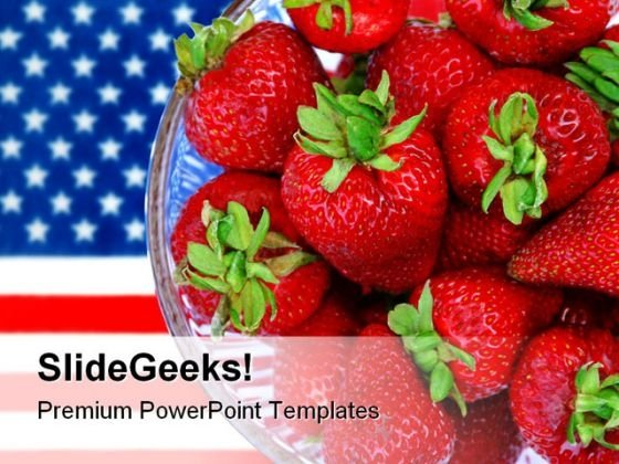 Strawberry Food Americana PowerPoint Background And Template 1210