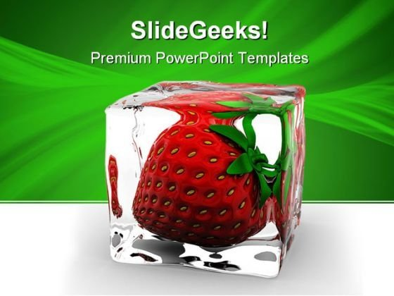 Strawberry In Ice Food PowerPoint Themes And PowerPoint Slides 0511