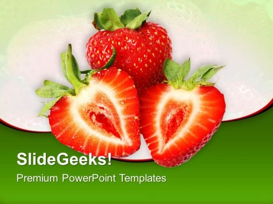 Strawberry Slices Food PowerPoint Templates And PowerPoint Themes 0512
