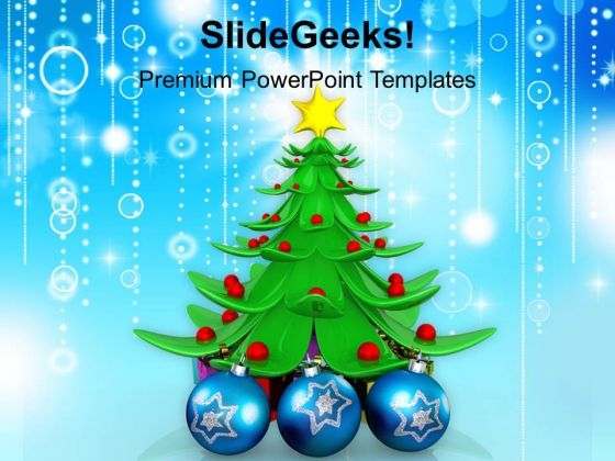 Stylized Tree With Ornaments Christmas Concept PowerPoint Templates Ppt Backgrounds For Slides 1112
