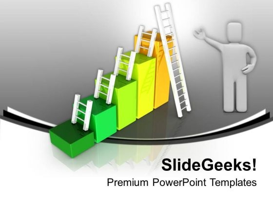 Success Bar Graph With Ladders PowerPoint Templates Ppt Backgrounds For Slides 0213