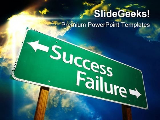 Success Failure Road Sign Travel PowerPoint Template 1110