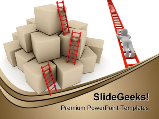 Success Ladder Business PowerPoint Backgrounds And Templates 0111