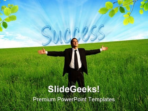 Success Man Business PowerPoint Background And Template 1210