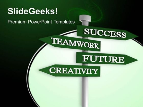 Success Teamwork Signpost Metaphor PowerPoint Templates And PowerPoint Themes 0412