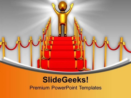 Successful Man Standing On Red Carpet Winner PowerPoint Templates Ppt Backgrounds For Slides 0313