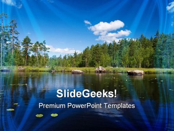 Summer Forest Lake Beach PowerPoint Templates And PowerPoint Backgrounds 0611