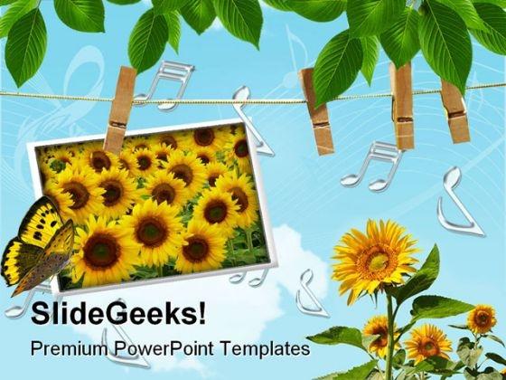 Sun Flowers Beauty PowerPoint Template 0610
