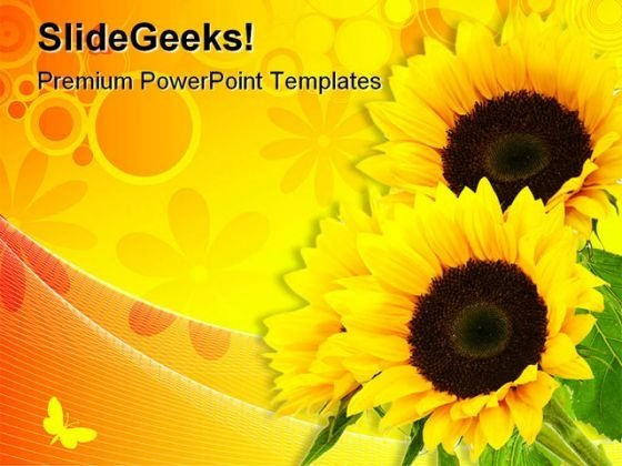 Sunflower Abstract Beauty PowerPoint Template 0810 - PowerPoint Themes