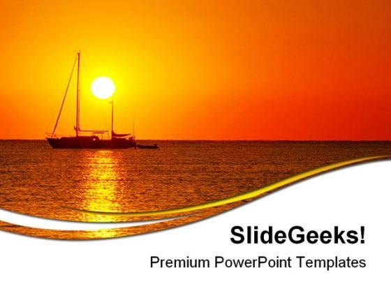 Sunrise And Boat Beach PowerPoint Templates And PowerPoint Backgrounds 0711