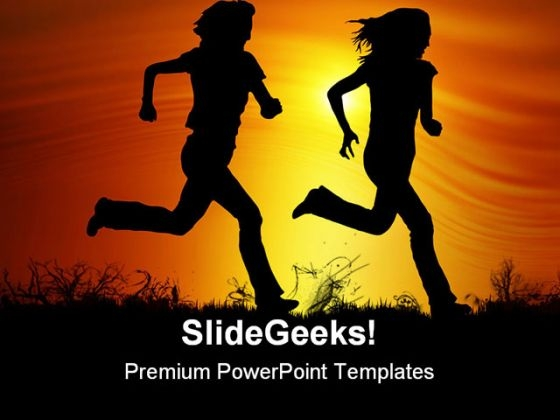 Sunset Joggers Health PowerPoint Templates And PowerPoint Backgrounds 0811