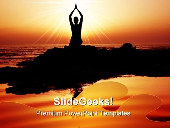 Sunset Yoga Exercise Health PowerPoint Templates And PowerPoint Backgrounds 0611