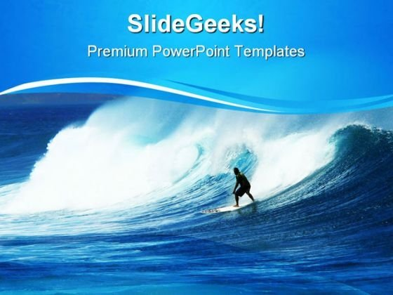 Surfer In Heavy Swells Vacation PowerPoint Themes And PowerPoint Slides 0811