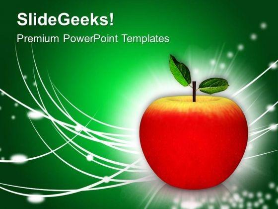 sweet juicy apple good for health powerpoint templates ppt, Powerpoint templates