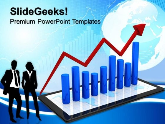 Tablet With Bar Graph Business PowerPoint Templates And PowerPoint Themes 0612