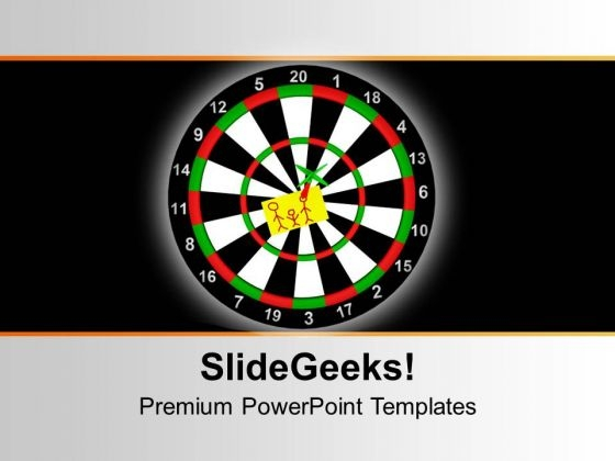 Target Board With Dart Black Background PowerPoint Templates Ppt Backgrounds For Slides 0213