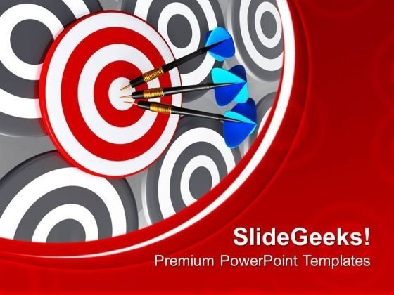 Target With Three Arrows Success Theme PowerPoint Templates Ppt Backgrounds For Slides 0413