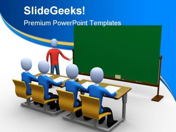 Teacher In Classroom Education PowerPoint Template 1110