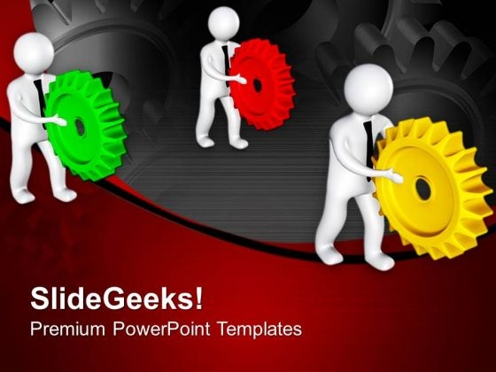 Team Completing Gear Process PowerPoint Templates Ppt Backgrounds For Slides 0713