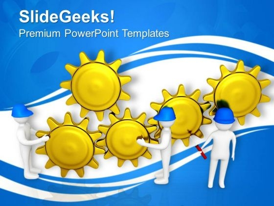 Team Efforts In Gears Mechanism PowerPoint Templates Ppt Backgrounds For Slides 0713