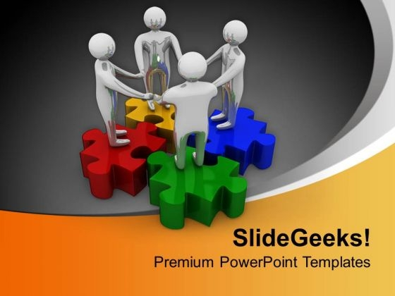 Team Holding Hands On Colorful Puzzle PowerPoint Templates Ppt Backgrounds For Slides 0313